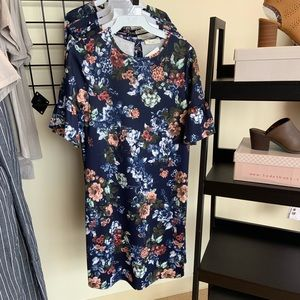 Navy blue floral T-shirt dress